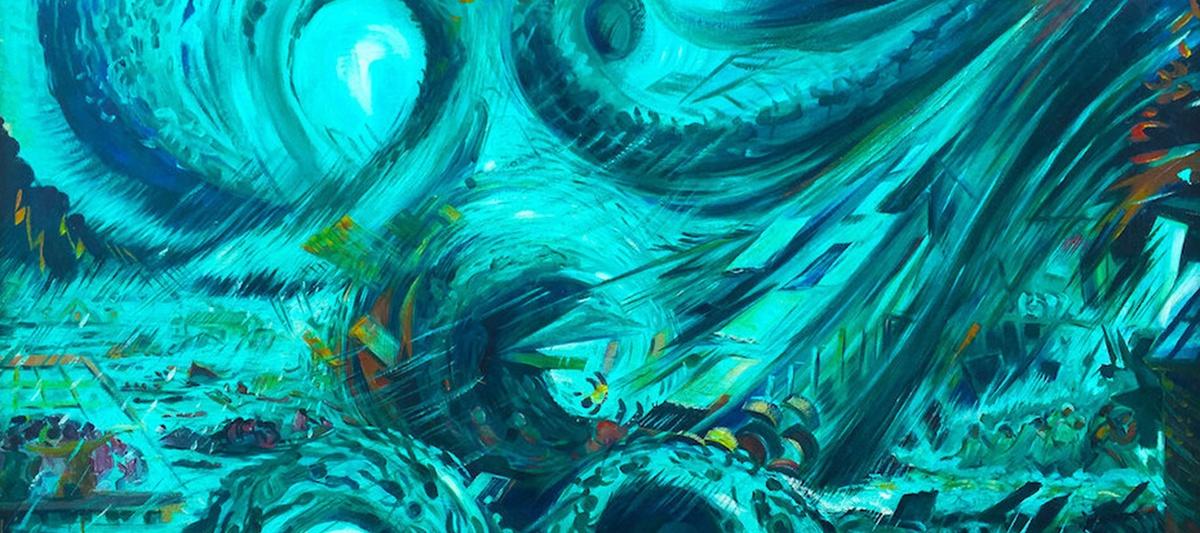 Hurricane Hattie Belize, painting by Pen Cayetano