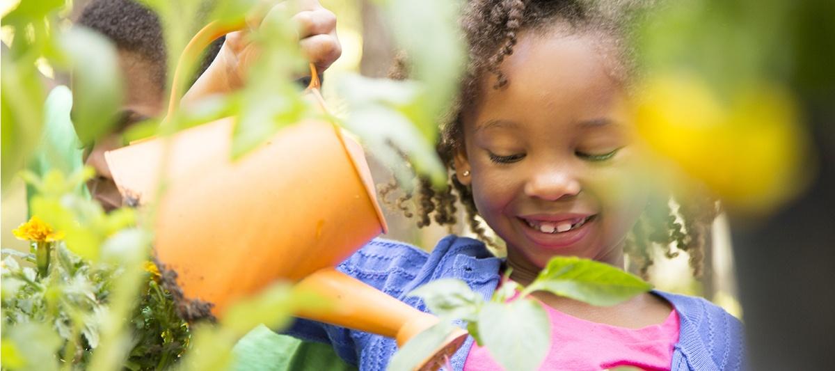 children tending plants at school