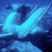 statue of pegasus underwater