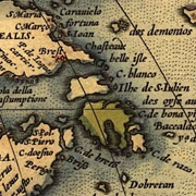 detail, 16th century map of northeast america