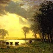 detail, Alfred Bierstadt, The Buffalo Trail