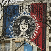 Detail, Shepard Fairey Mural in Paris
