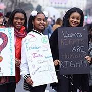 Young women at the Women's March in Washington DC