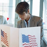 U.S. woman at voting booth