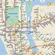 detail, map of NYC subway system