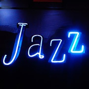 the word jazz in neon