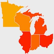 Map of the six Great Lakes States