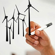 hand drawing wind turbines