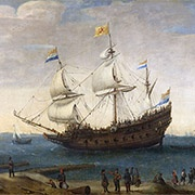 painting, 17th century Dutch merchant ships