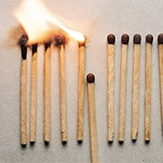 matches burning, interrupted