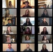 photo of choir members on Zoom grid