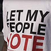 T-shirt with text: Let My People Vote