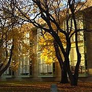 MIT Hayden Library at dusk