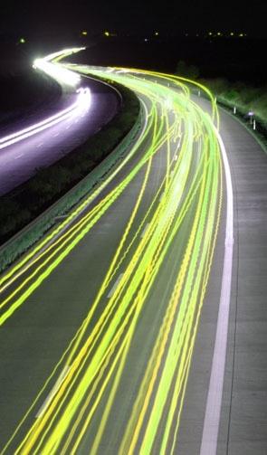 automobile lights at night