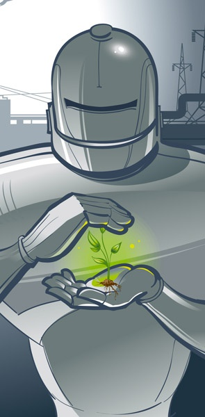 robot sheltering a plant